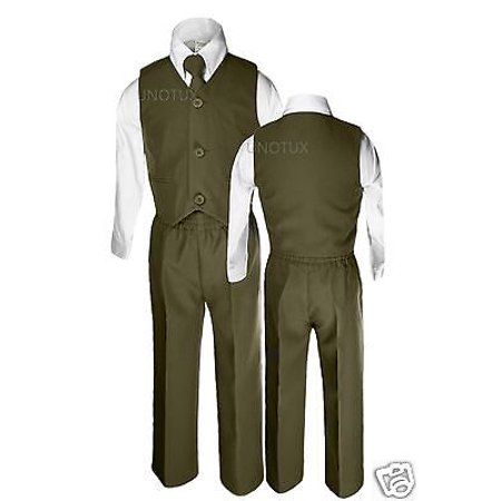 Baby Boy Toddler Wedding Formal Party Vest Suit Olive Green 12M 18M 24M 2T 3T 4T (Olive Baby)