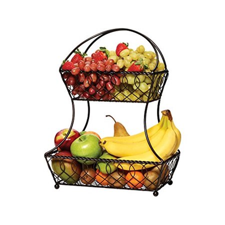 Gourmet Basics By Mikasa Lattice 2 Tier Metal Fruit Basket Antique Black