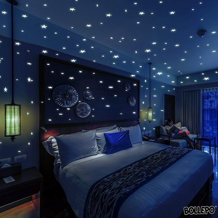 BOLLEPO Glow in The Dark Star and Dots 332 3D Wall Stickers for Kids Bedroom and Room Ceiling Gift Beautiful Glowing Wall Decals + Stars Constellations Guide](Bulk Glow In The Dark Stars)