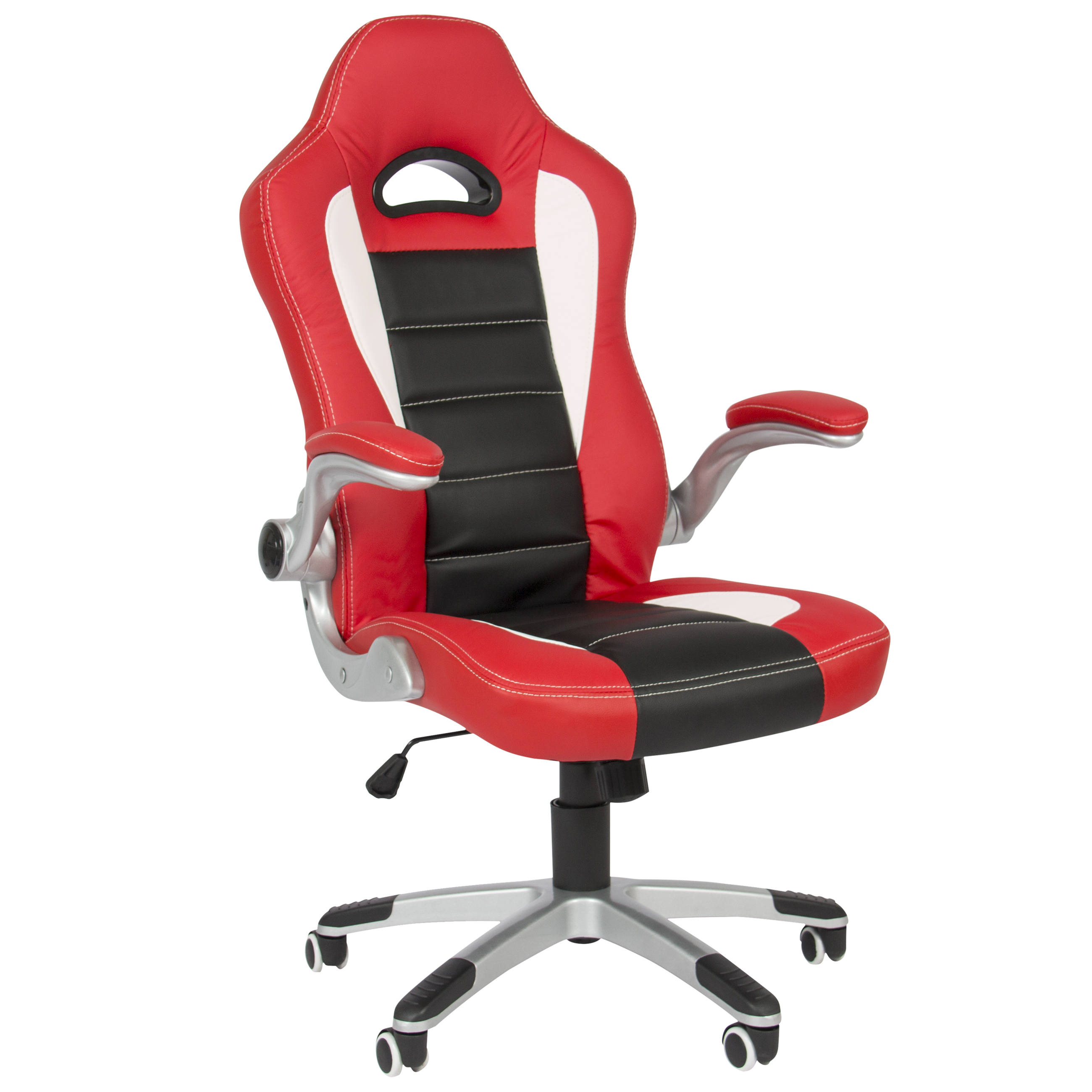 Executive Office Chair PU Leather Racing Style Bucket Desk Seat Chair Red