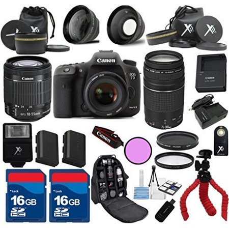 Canon 7D Mark II Camera Body with 18-55mm IS STM + 75-300mm + 3Pc Filter Kit + Wide Angle + Spider Flexible Tripod + Extra Battery + 2pcs 16GB Memory Cards + 24pc Kit - International