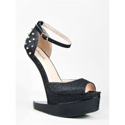 Qupid BIZARRE-01 Heel Less Iron Plate Platform Ankle Strap