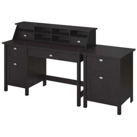 - Pemberly Row Computer Desk with 2 Drawer File Cabinet in Espresso Oak