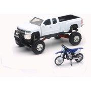 New Ray Toys White Chevy Silverado 4x4 & Yamaha Dirt Bike SS-54416