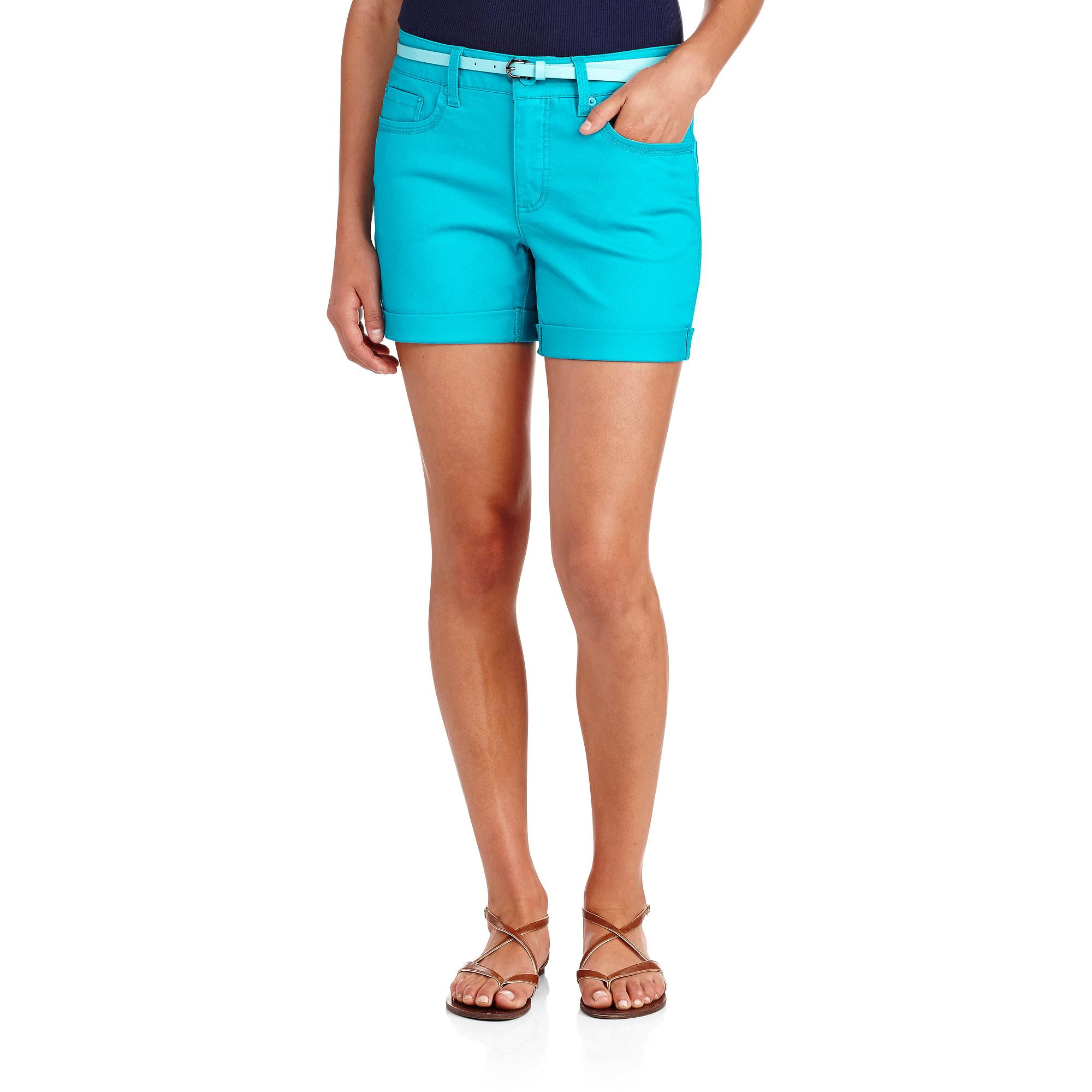 "Faded Glory Women's Classic Twill Belted 4.5"" Cuffed Shorts"