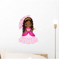 Beautiful African American Princess Wall Decal Wallmonkeys Peel and Stick Decals for Girls (12 in H x 12 in W) WM502793