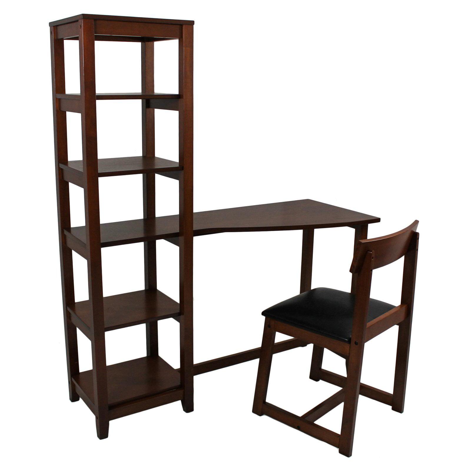 International Caravan Wallaston 2 Piece Study Desk With Attached Book Shelf And Chair Com