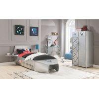 ACME Aeronautic Storage Metal Bed in Silver Finish, Multiple Sizes