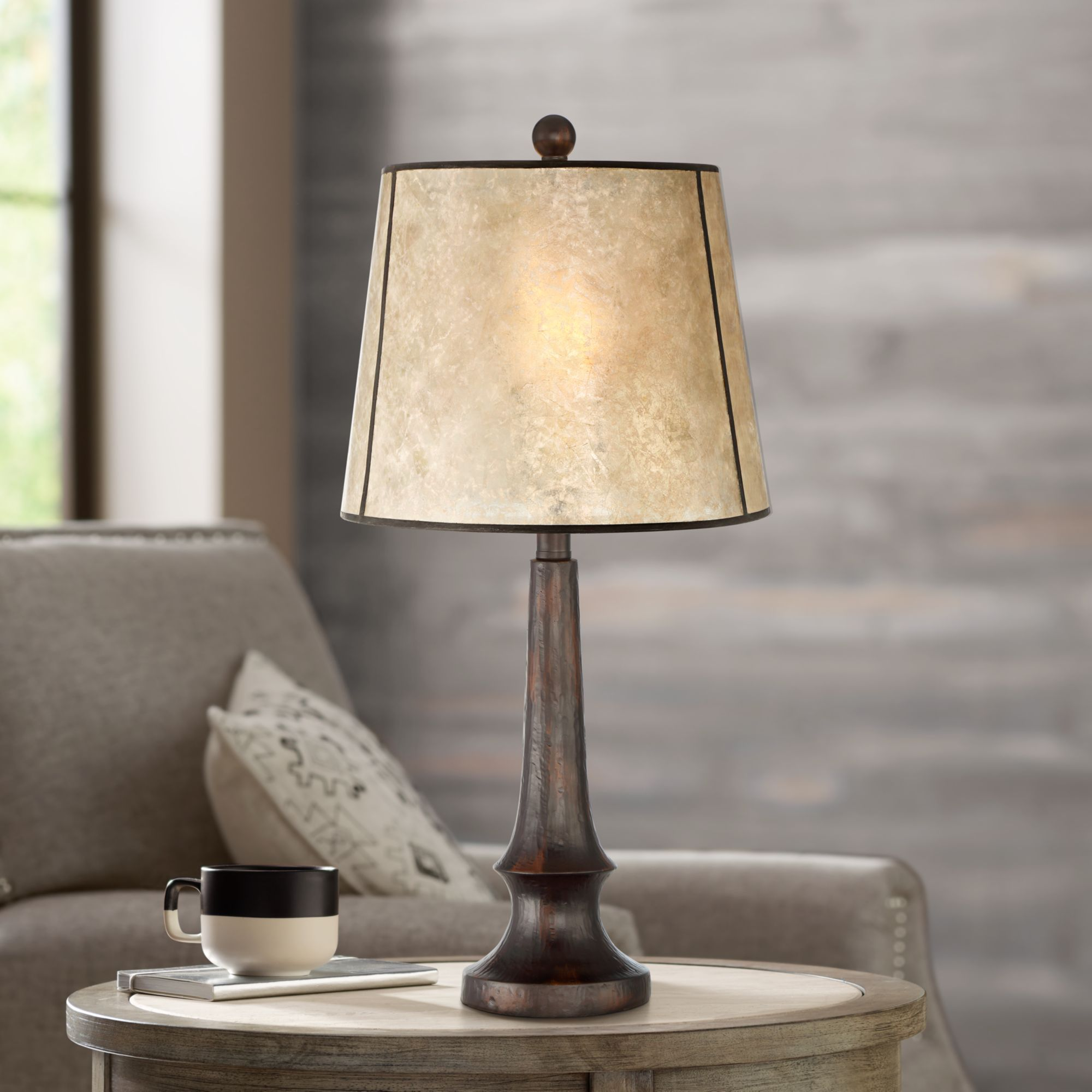 Franklin iron works rustic table lamp aged bronze mica drum shade for living room family bedroom bedside nightstand office walmart com