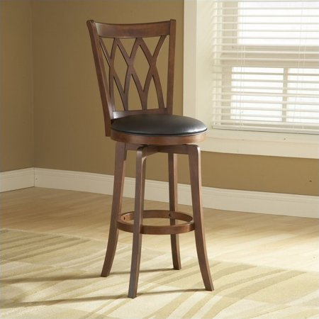"Hillsdale Furniture Mansfield 46.75"" Swivel Bar Stool, Brown Cherry Finish with Black Vinyl"