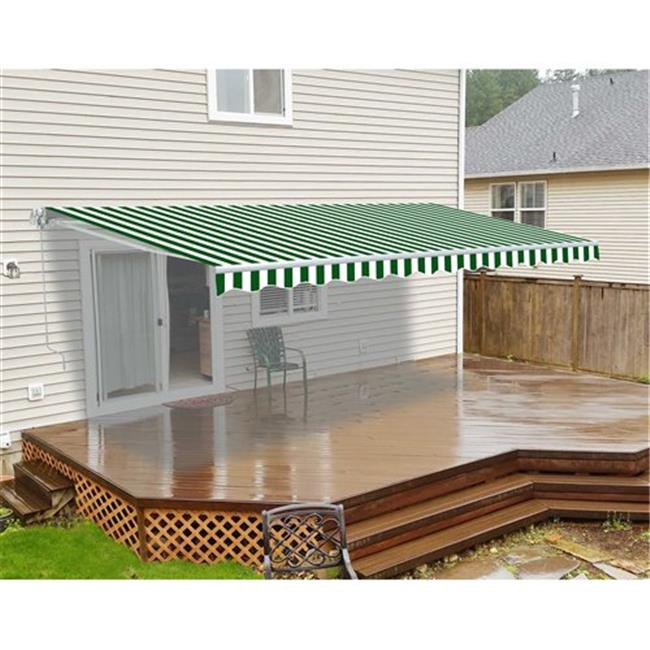Aleko AW12X10GWSTR00-INACTIVE 12 x 10 ft. Retractable Awning Stripes Patio Awning, Green & White