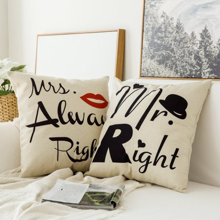 Fabricmcc Pack of 2, Valentine's Day Mr.Right&Mrs.Always Right Series Cotton Linen Decorative Throw Pillow Case Cushion Cover Pillowcase for Sofa Bed Car 18 x 18 Inch (Valentines Day Throw Pillows)