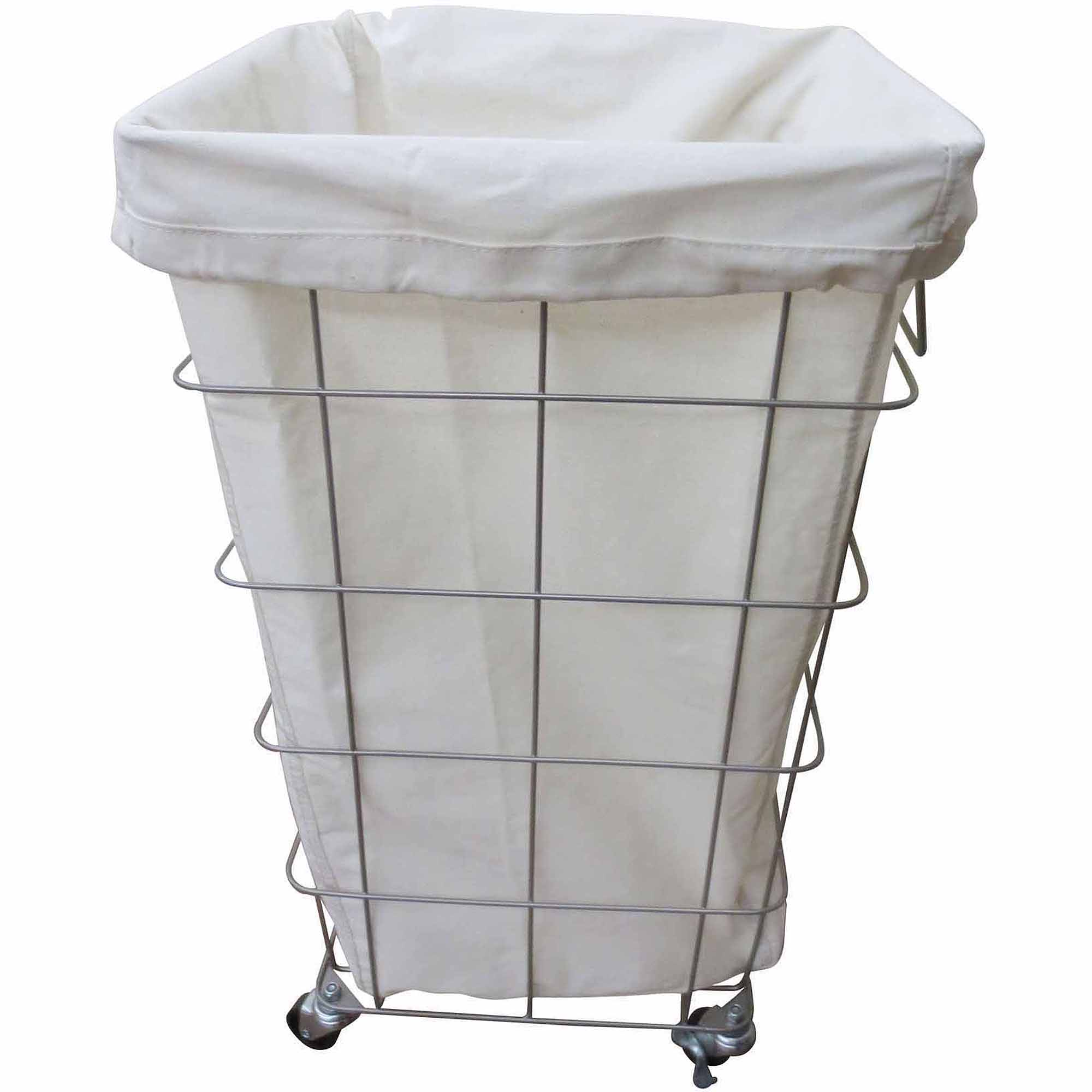 Laundry Hamper With Wheels Part - 20: Better Homes And Gardens Square Caged Hamper, Nickel/White