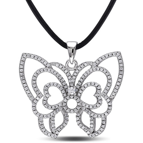 "2-2/5 Carat T.G.W. Cubic Zirconia Sterling Silver Butterfly Pendant with 24"" Leather Cord"