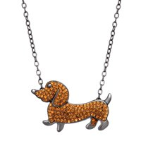 Crystaluxe Dachshund Necklace with Swarovski Crystals + Finecraft 3/4 ct Stud Earrings with Cubic Zirconia