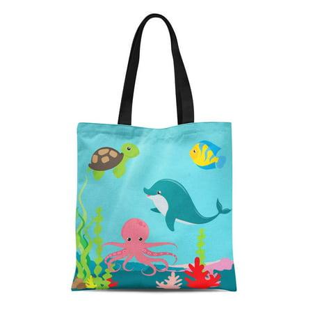 LADDKE Canvas Tote Bag Kids Aquatic Ocean Life Childrens Octopus Sea Dolphin Fish Reusable Handbag Shoulder Grocery Shopping Bags - Childrens Shopping Bag