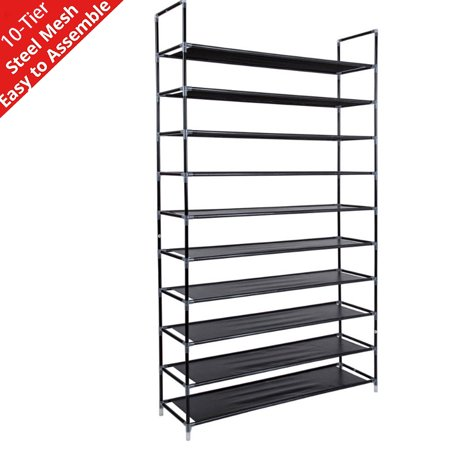 10-Tier Shoe Rack Organizer for Closet, Entryway Stainless Steel Shoes Rack, 50 Pairs Non-woven Fabric Shoe Tower Organizer Cabinet, Sturdy Free Standing Shoe Storage Rack, 39.37x11.02x 70.87IN,L1946 thumbnail