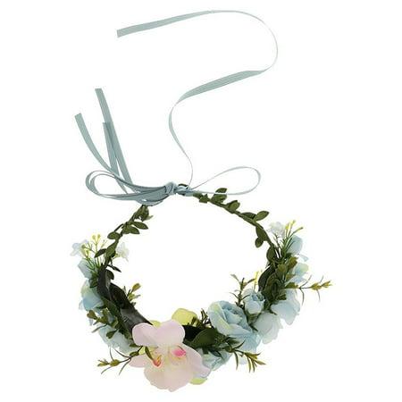 Flower Wreath Headband Crown Floral Garland Boho for Festival Wedding (Lake Blue)