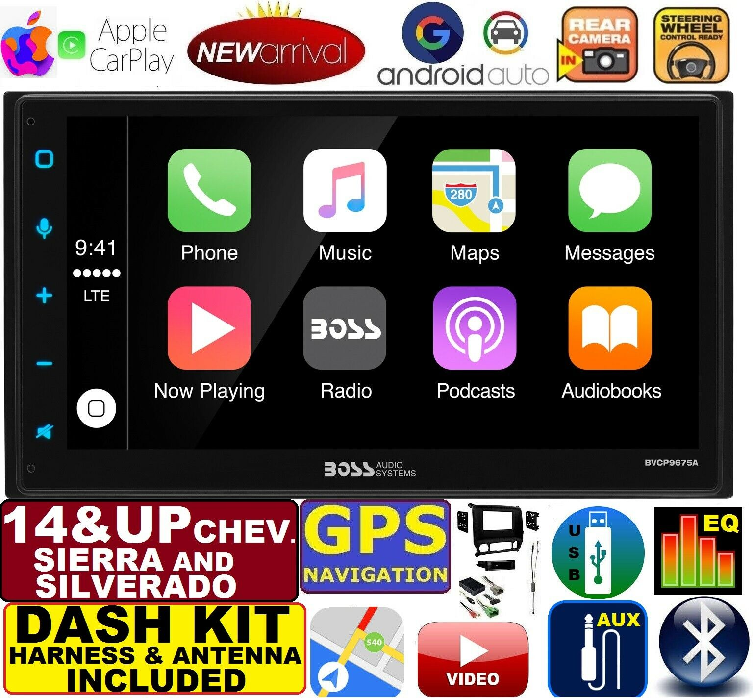 2014 & UP SILVERADO / SIERRA ANDROID AUTO APPLE CARPLAY NAVIGATION (works with IPHONE) USB/BLUETOOTH CAR RADIO STEREO PKG.  INCL. VEHICLE INSTALLATION, DASH KIT, WIRE HARNESS, AND ANTENNA ADAPTER