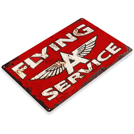 TIN SIGN Flying A Service Gas Oil Metal Décor Fuel Station A757
