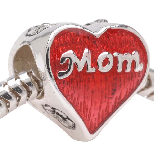 Silver Plated European Style Large Hole Bead 'Mom' On A Red Heart With Flowers