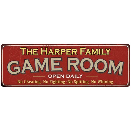 The Harper Family Personalized Red Game Room Metal 8x24 Sign 108240038426](Personalized Family Signs)