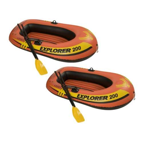 Intex Explorer 200 Inflatable 2 Person River Boat Raft Set w/ Oars & Pump (Pair)