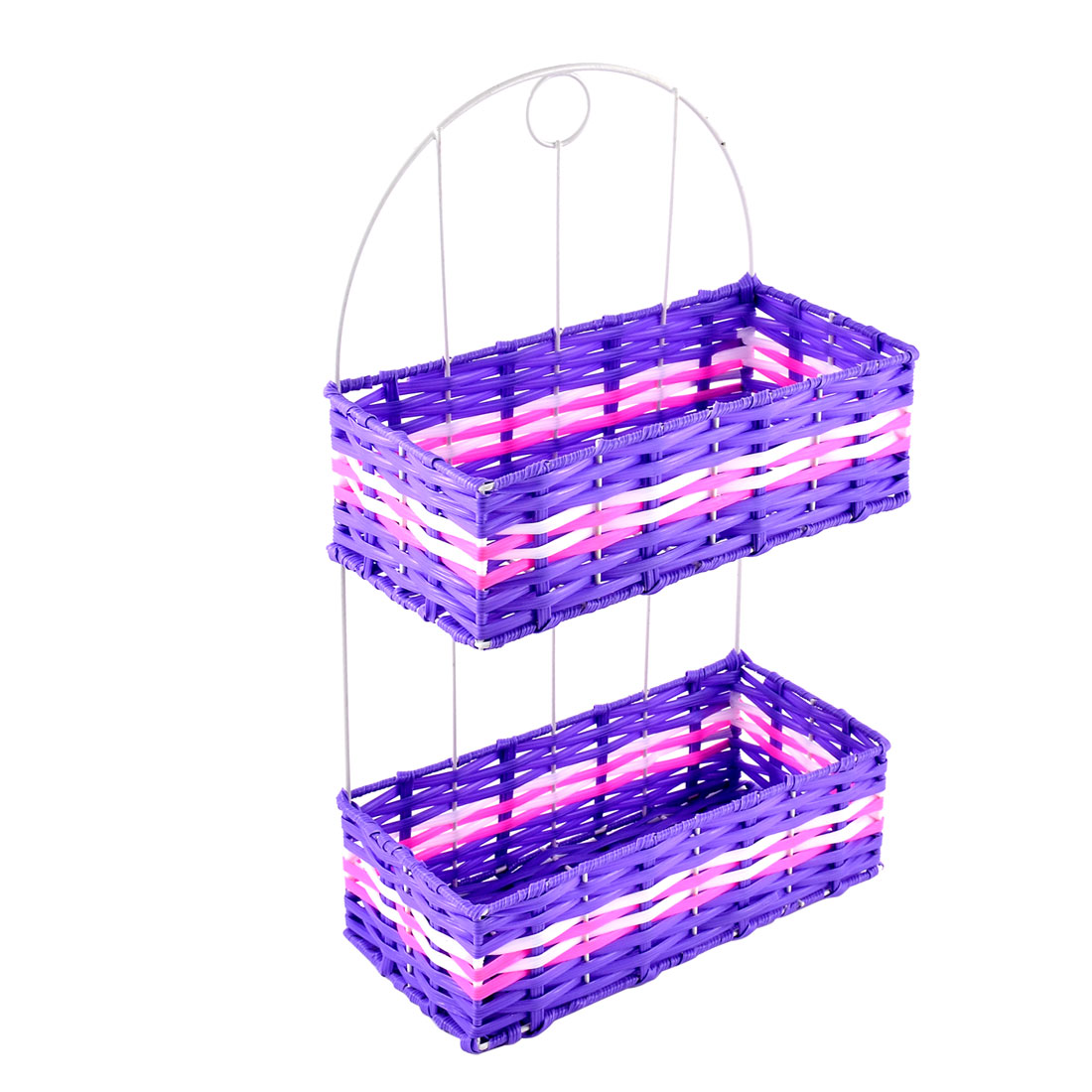 Plastic 2 Layers Braided Cosmetic Storage Tissue Box Basket Holder Purple