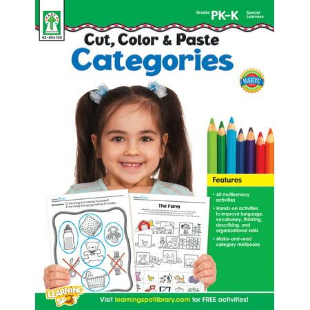 Cut, Color & Paste Categories, Grades PK - K - Color Cut And Paste Halloween