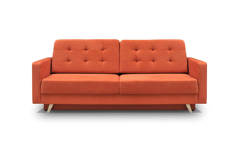 Vegas Futon Sofa Bed, Queen Sleeper with Storage, Orange ...