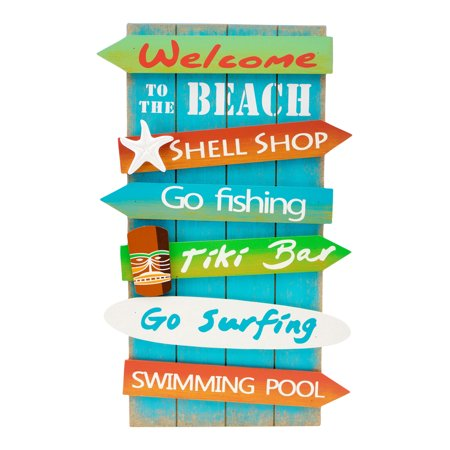 Welcome to Beach Fishing Shell Shop Wood Directional 15 Inches Wall Sign Plaque