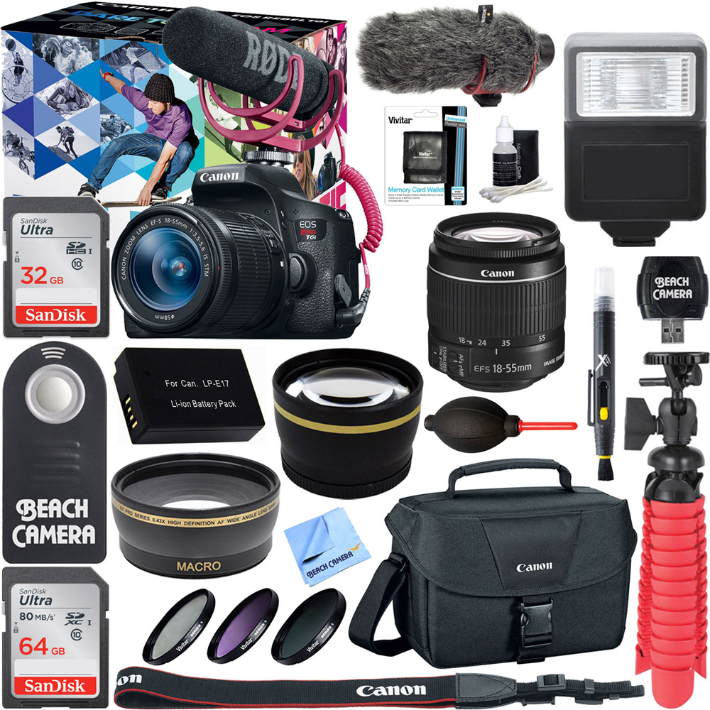 Canon EOS Rebel T6i Digital SLR Camera Video Creator Kit 18-55mm Zoom Lens, Rode Video Mic, 32GB + 32GB SDXC Memory Bundle + Pro Wide Angle Lens + 2x Telephoto Lens Converter +Extra Battery+DSLR Bag