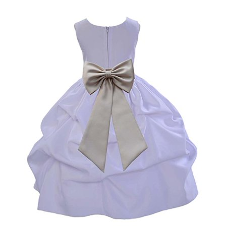 Ekidsbridal Ekidsbridal White Satin Pick Up Flower Girl Dress
