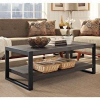 Walker Edison Industrial Wood and Metal Coffee Table - Charcoal