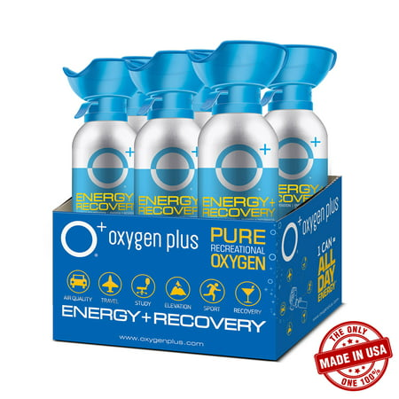 O+ Biggi, Made in The USA, 11 Litre Canisters (6-Pack) - Oxygen Plus Portable & Concentrated Recreational Oxygen for Energy & Recovery