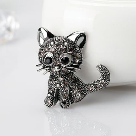 - Heepo Vintage Women Girls Lovely Cat Kitten Rhinestone Collar Brooch Pin Party Jewelry