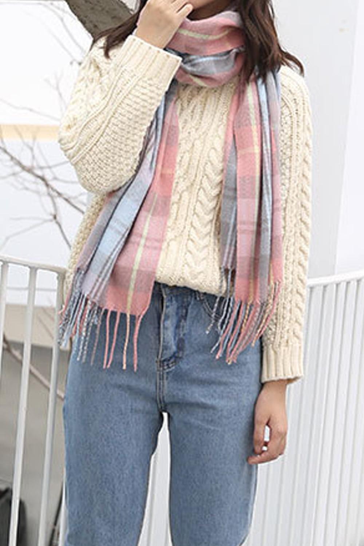 Unomatch Women Trendy Plaid Style Convenient Cozy Winter Casual Muffler Walmart Com Walmart Com