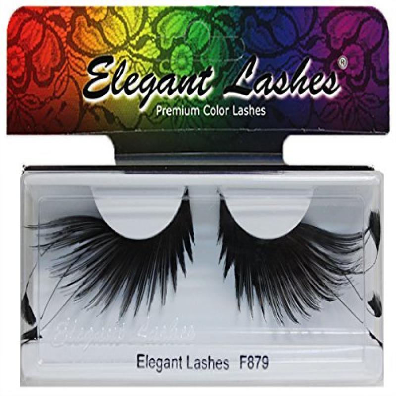 Elegant Lashes F879 Premium Black Feather False Eyelashes Halloween Dance Rave Costume & Elegant Lashes F879 Premium Black Feather False Eyelashes Halloween ...
