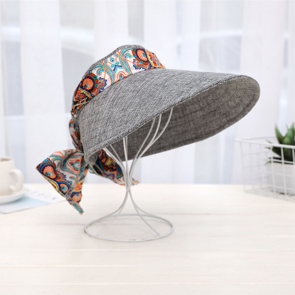 Women Fashion Foldable Wide Brim Visor Cap UV Protection Sun Hat with Ribbon Binding Color:Navy