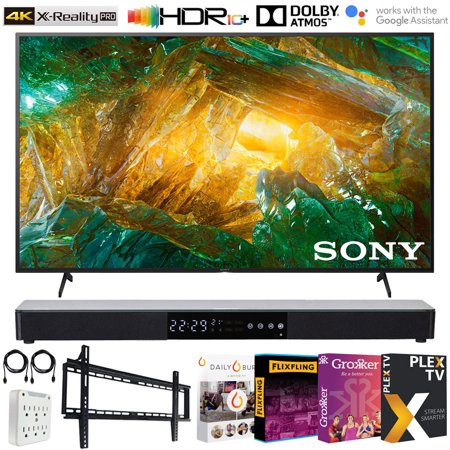 Sony XBR43X800H 43-inch X800H 4K UHD LED Smart TV (2020) Bundle with Deco 31-in Sound bar, Deco Wall Mount, Tech Smart USA TV Essentials 2020 and 6-Outlet Surge Adapter