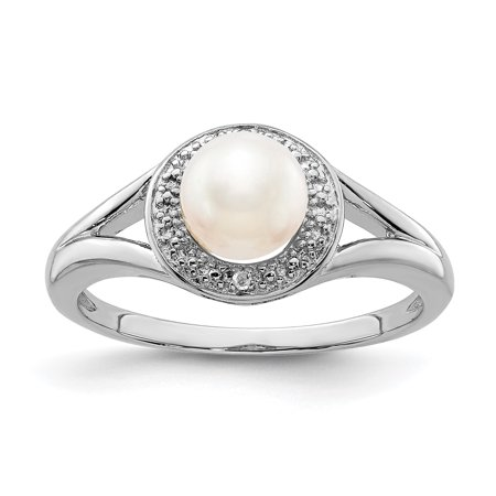 - 925 Sterling Silver Diamond Freshwater Cultured Pearl Band Ring Size 7.00 Birthstone June Gemstone Set Fine Jewelry Ideal Gifts For Women Gift Set From Heart