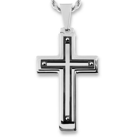 Coastal Jewelry Black Plated Stainless Steel Multi Layer Cross (Stone Bezel Black Cross)