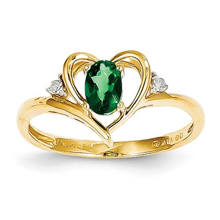 (14k Yellow Gold 6x4 Oval Diamond & Genuine Emerald Ring. Gem Wt- 0.36ct)