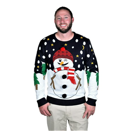RWB Snowman Ugly Christmas Sweater Pullover Slim Fit Navy - Classic Christmas Sweaters