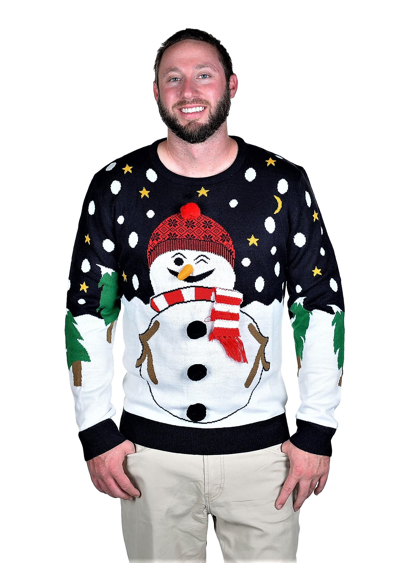 RWB Snowman Ugly Christmas Sweater Pullover Slim Fit Navy
