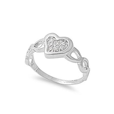 Sterling Silver 925 Yellow CZ Heart Love Ring Size 9.5