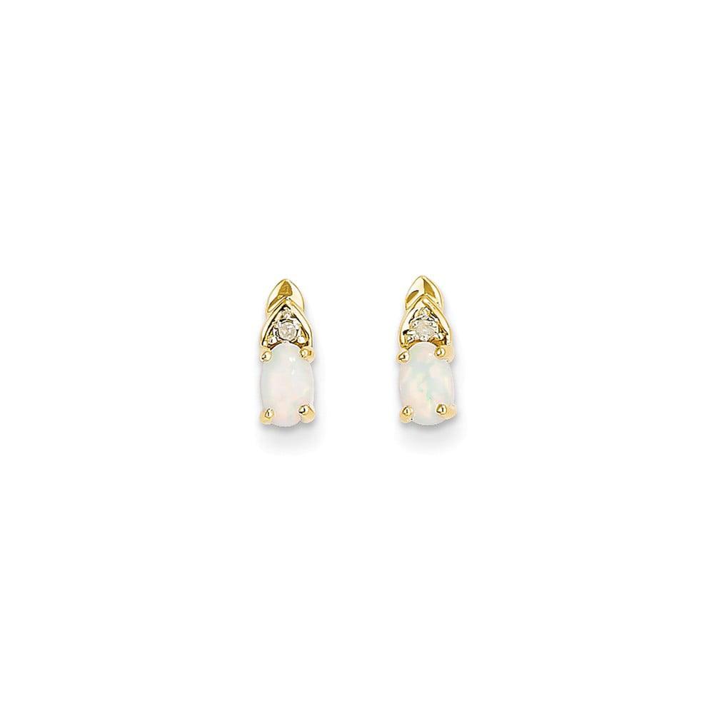 14k Yellow Gold 5x3 Oval Diamond & Genuine Opal Earrings. Gem Wt- 0.35ct (9MM Long x 3MM Wide)
