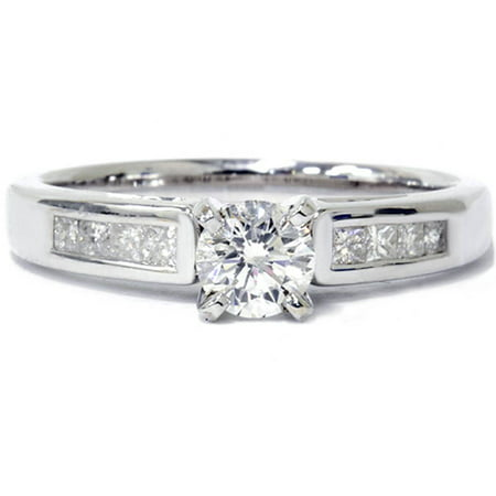7/8ct Princess Cut Cathedral Diamond Engagement Ring 14K White Gold - image 3 of 3
