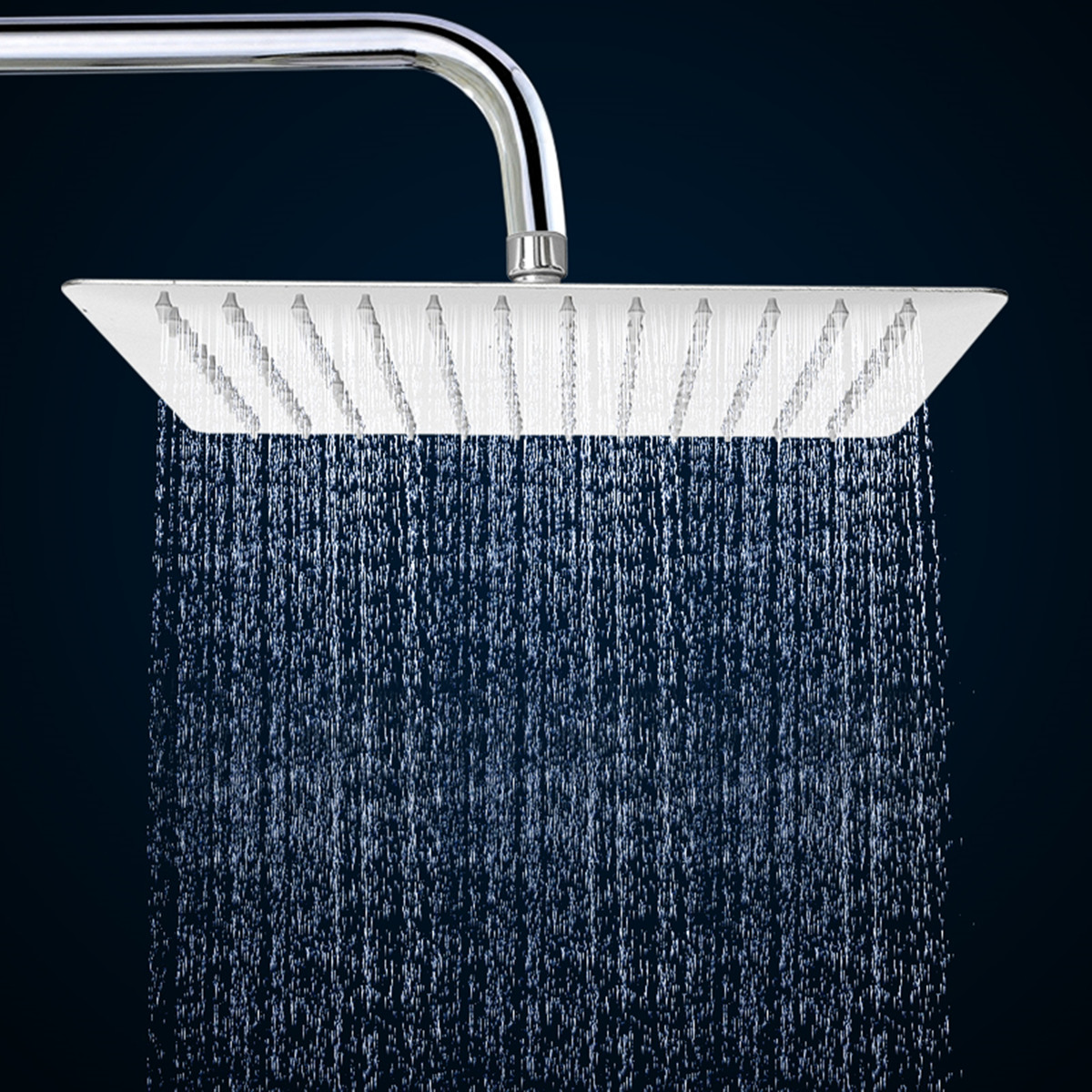 New 12 Inch Square Ultra Thin Stainless Steel Rain Shower Head Rainfall  Bathroom Top Sprayer Chrome