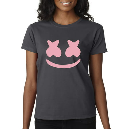 Trendy USA 1125 - Women's T-Shirt Marshmello DJ Smiley Face Music Medium Charcoal